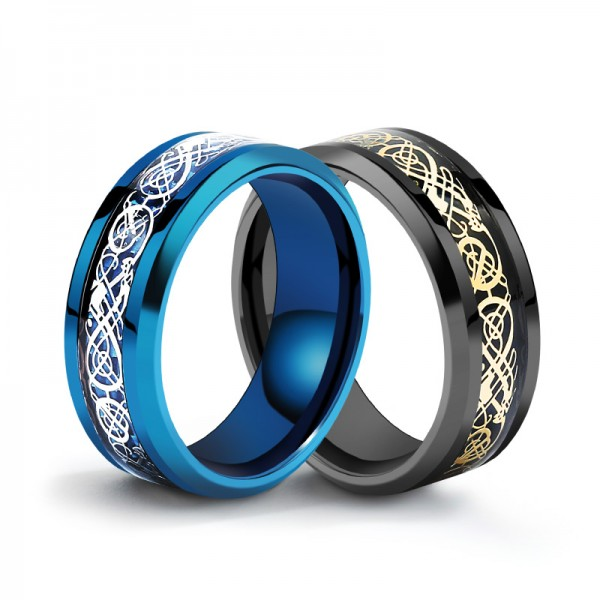 Titanium Black and Blue Ring For Men Cool and Exquisite Highlight Good Taste