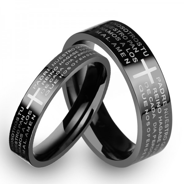 Biblical Scripture & Cross Black Titanium Steel Rings For Couples