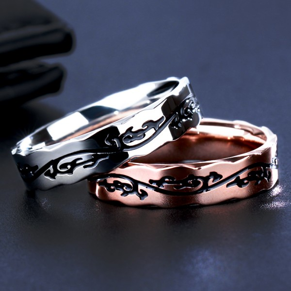Titanium Rose Gold and Silvery Ring For Men Cool and Exquisite Pattern Highlight Personality