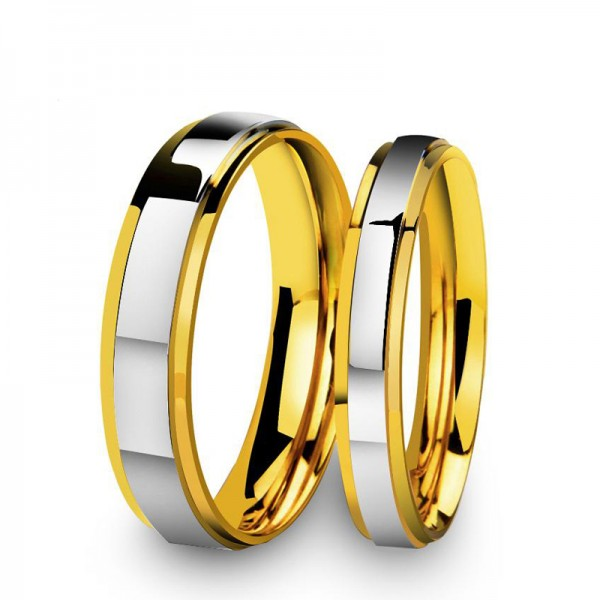 2019 Fashion New Premium Double Steps Mirror Golden Couple Ring