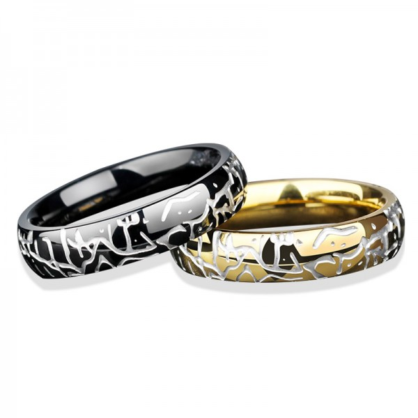 Titanium Crackle Personality Black and Golden Ring For Males