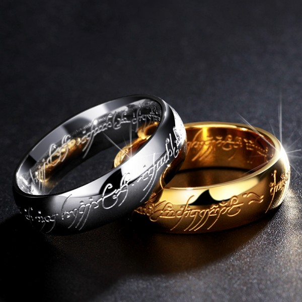 Splendid Titanium Silvery and Golden Lovers Rings Same Style as Lord of the Rings
