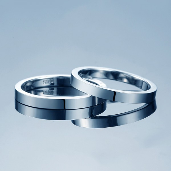 Simple Design S925 Sterling Silver Couple Rings Polish Surface