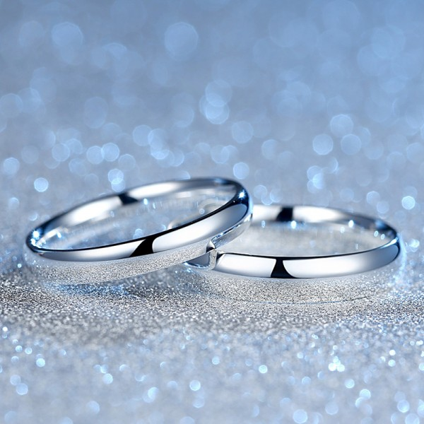 Simple Design Sterling Silver Couple Rings For Love