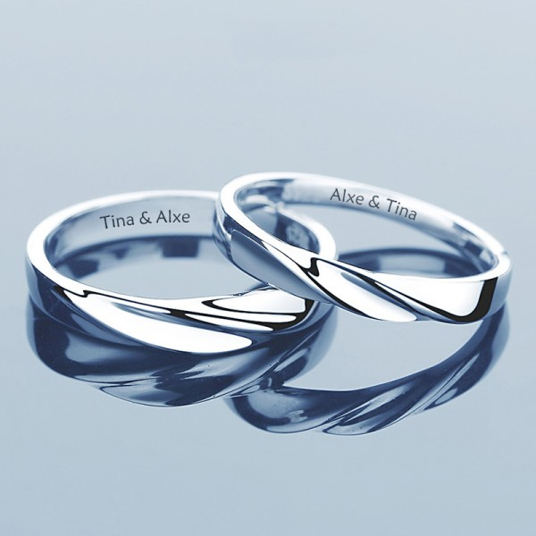 Sterling Silver Ring For Couples Waving Pattern Simple and Fashion Style