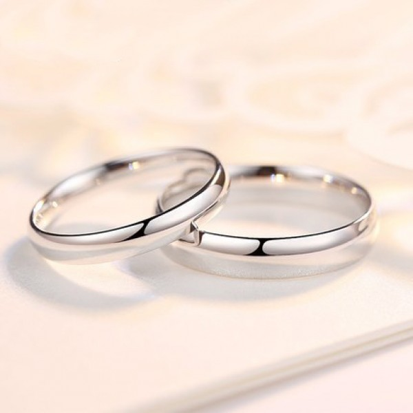 Lovers Simple Curve Surface S925 Sterling Silver Ring For Couples Electroplating Platinum Inner Arc Design