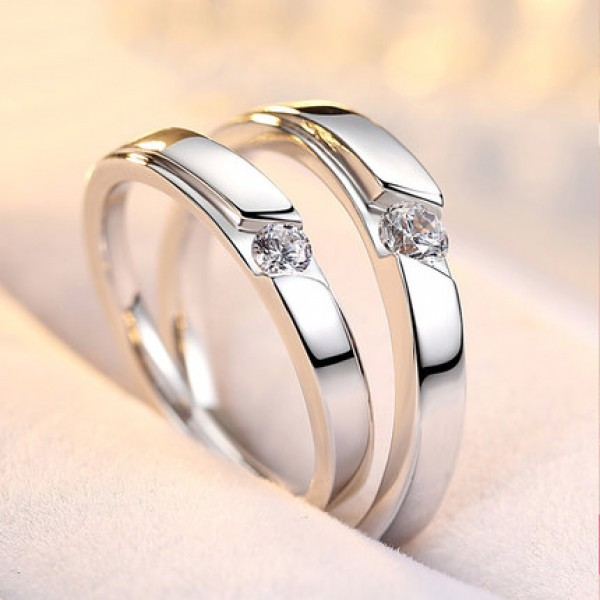 Creative Personalized Wedding S925 Sterling Silver Inlaid Cubic Zirconia Couple Rings