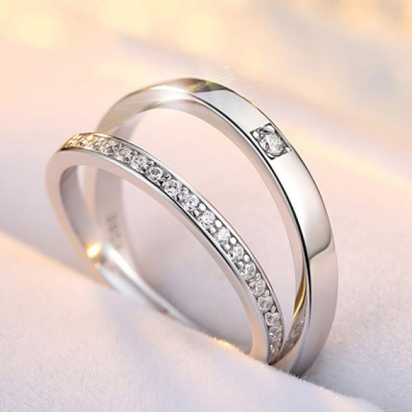 S925 Sterling Silver Inlaid Cubic Zirconia Original Design Engraved Couple Rings