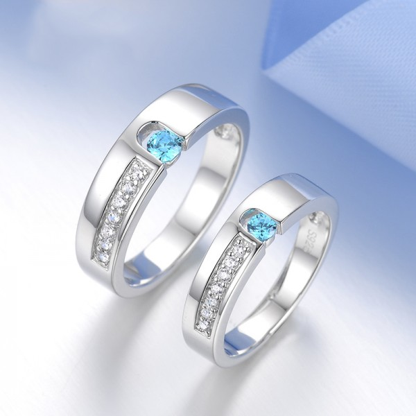 S925 Sterling Silver Inlaid Cubic Zirconia Couple Rings