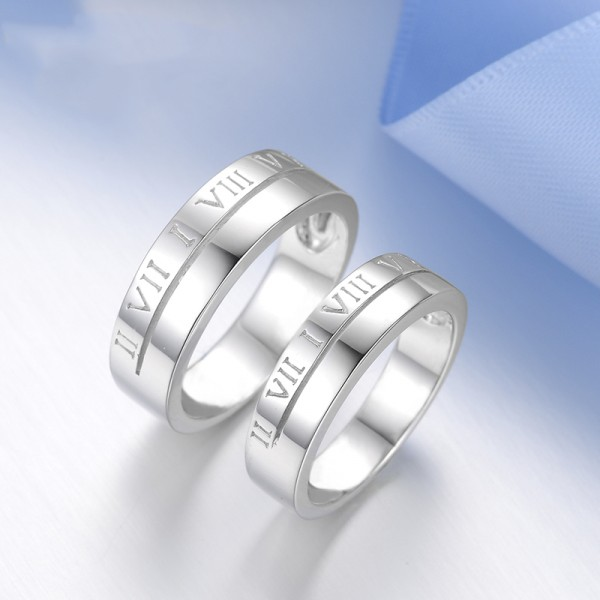 Roman Numerals Engraved S925 Sterling Silver Rings For Couples Fluted Craft