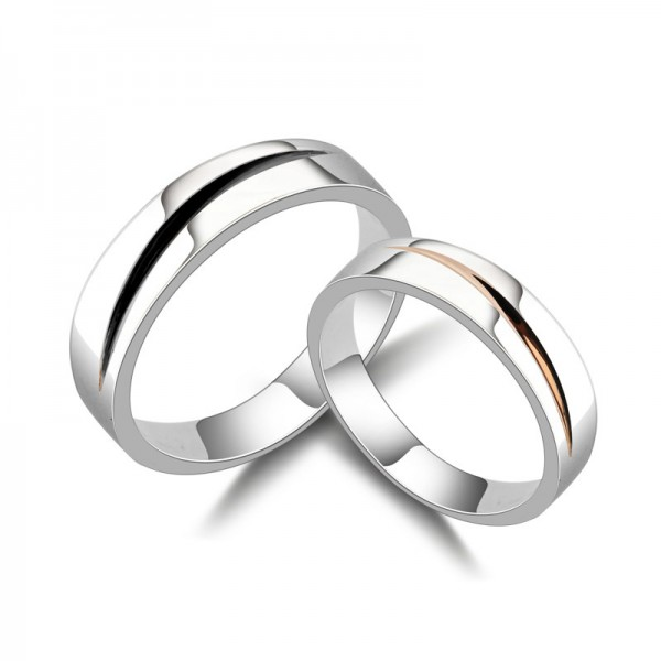 S925 Sterling Silver Rings For Couples Simple and Fashion Electroplating Black and Rose Gold