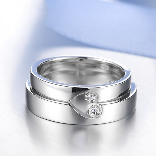 S925 Sterling Silver Inlaid Cubic Zirconia Creative Couple Rings