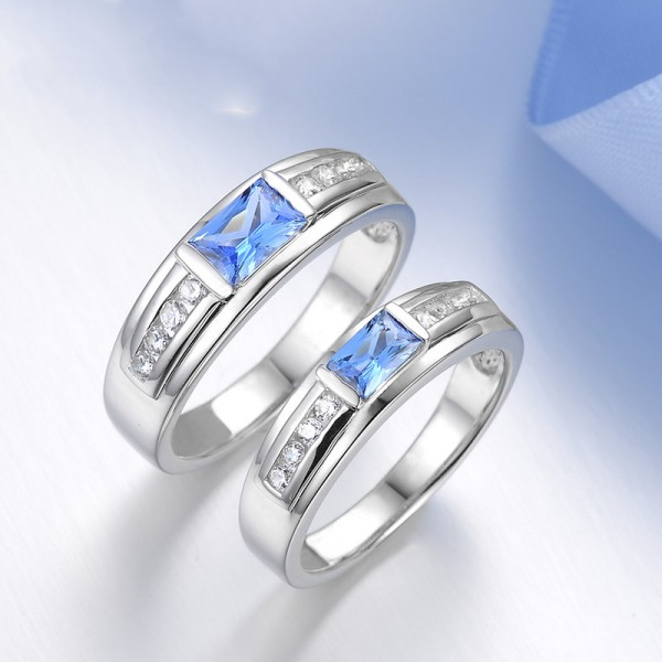 Exquisite S925 Sterling Silver Inlaid Cubic Zirconia Couple Rings Luxury and Fashion Style