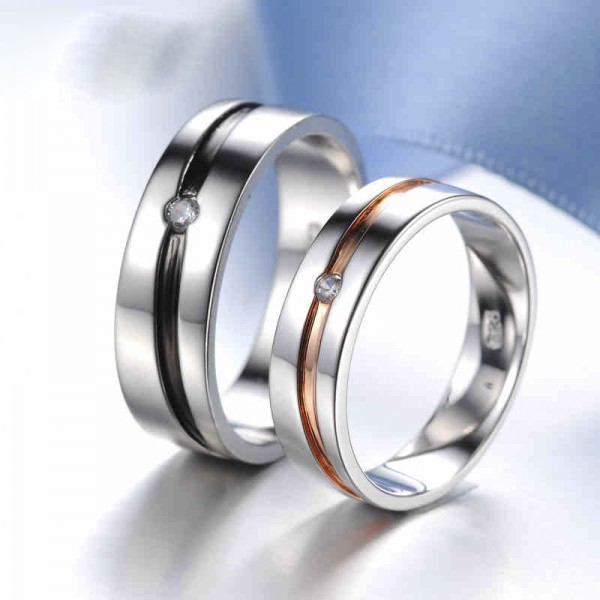 Creative Simple S925 Sterling Silver Rings For Couples Inlaid Cubic Zirconia Plating Black and Rose Gold