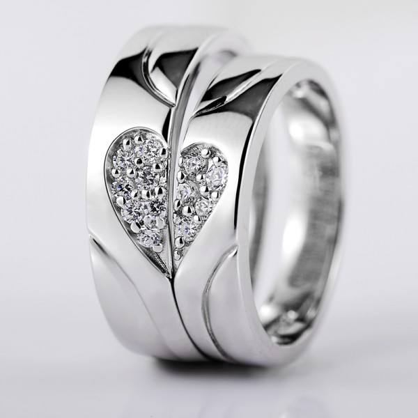 Heart-Shaped Puzzle S925 Sterling Silver Inlaid Cubic Zirconia Creative Couple Rings