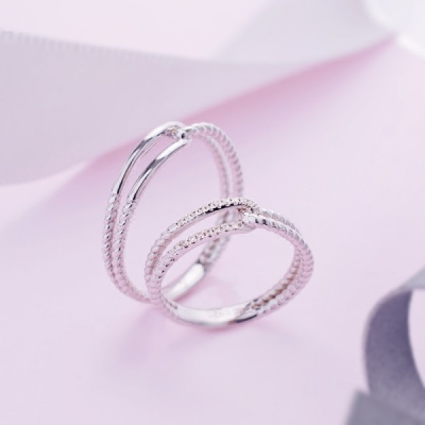 Forever Love S925 Sterling Silver Inlaid Cubic Zirconia Couple Rings