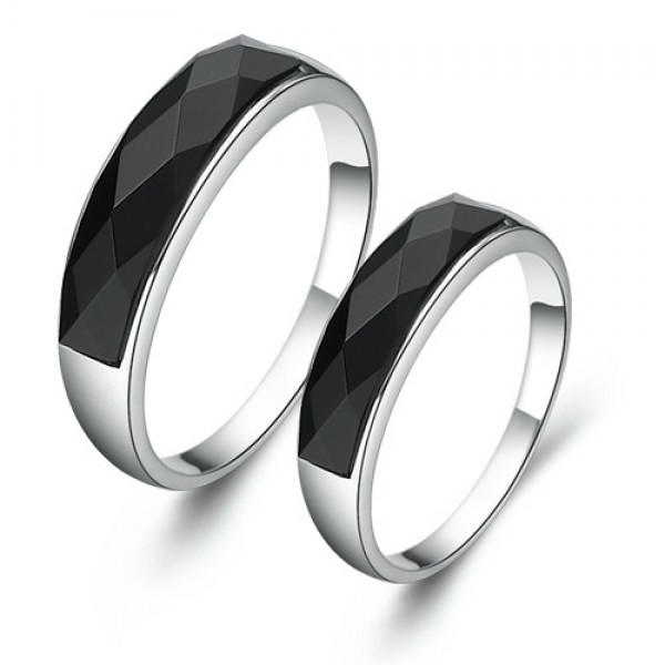 S925 Sterling Silver Black Agate Rings For Couples Simple and Elegant Cutting Surface