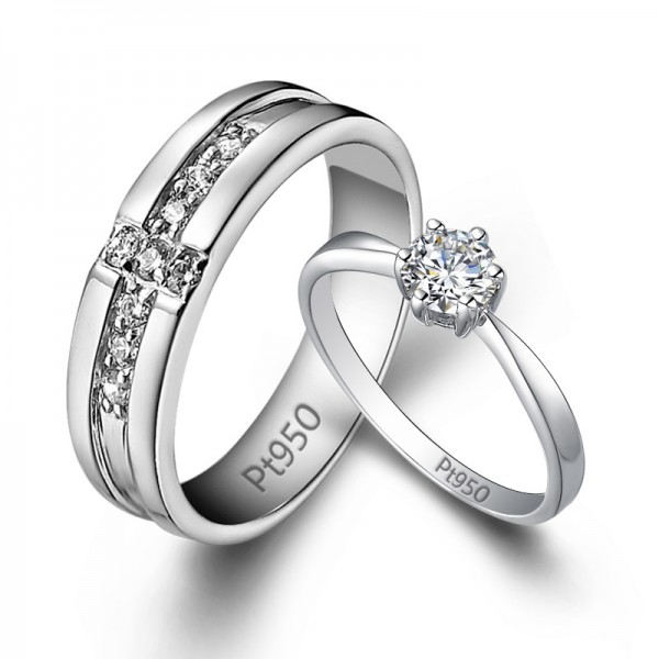 S925 Sterling Silver Cubic Zirconia White Sapphire Silver Couple Rings Luxury and Liberality Style