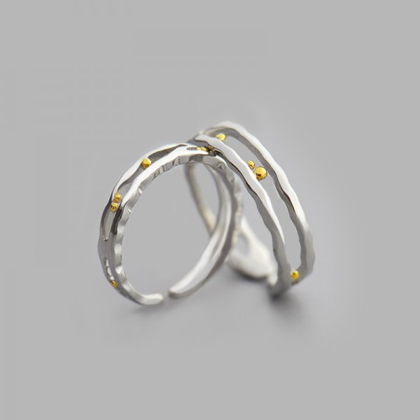 Original Design S925 Sterling Silver Open Couple Rings