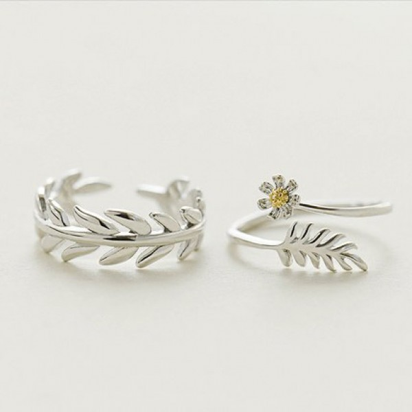 Sterling Silver Silver Opening Lap Rings For Couples Flower and Leaf Design
