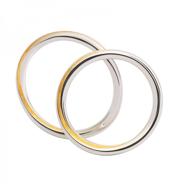 S925 Sterling Silver Rings For Couples Fluted and Goldplating Craft Infinite Love
