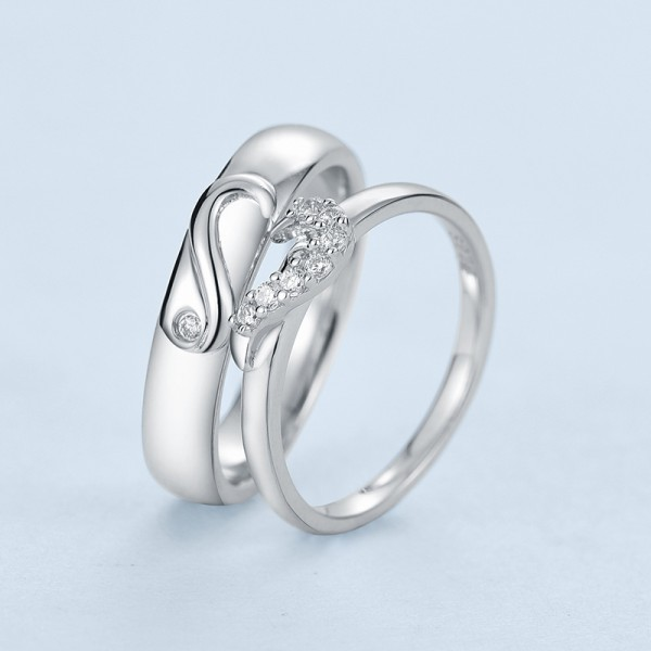 S925 Sterling Silver Cubic Zirconia White Sapphire Silver Couple Rings Luxury and Fashion