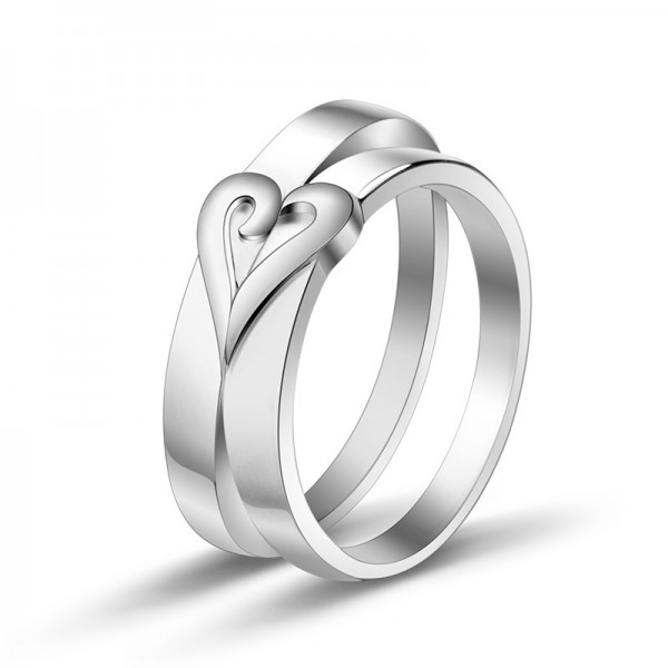 S925 Sterling Silver Love Heart Design Silver Rings For Couples