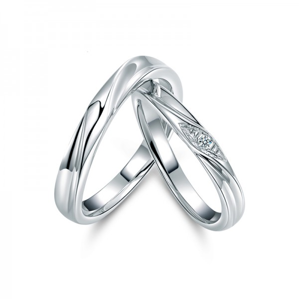 S925 Sterling Silver Cubic Zirconia White Sapphire Silver Couple Rings Spiral Burr Design