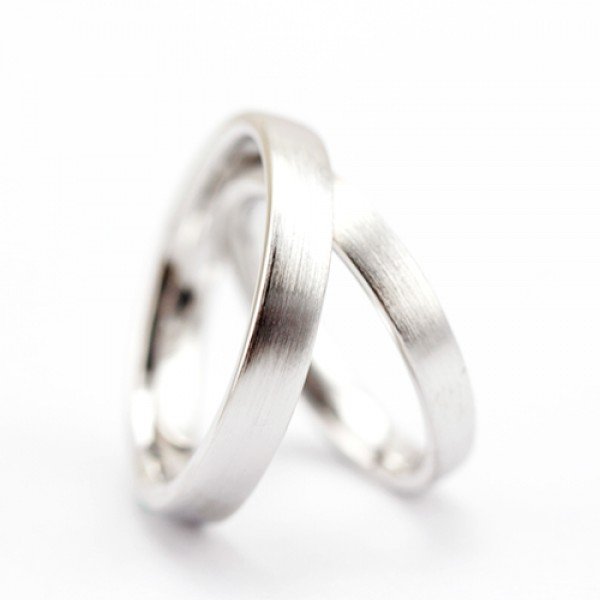 925 Silver Ring For Couples Simple and Fashion Style Brushed Craft