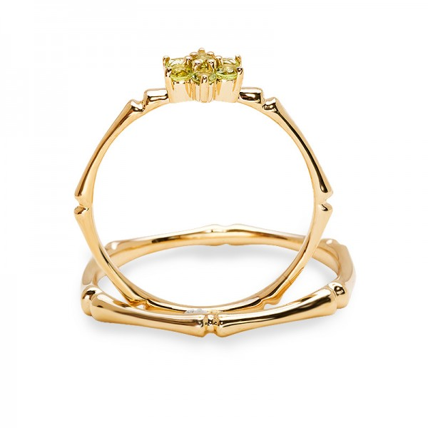 9K Gold Ring For Couples Inlaid Olivine Luxury and Liberality