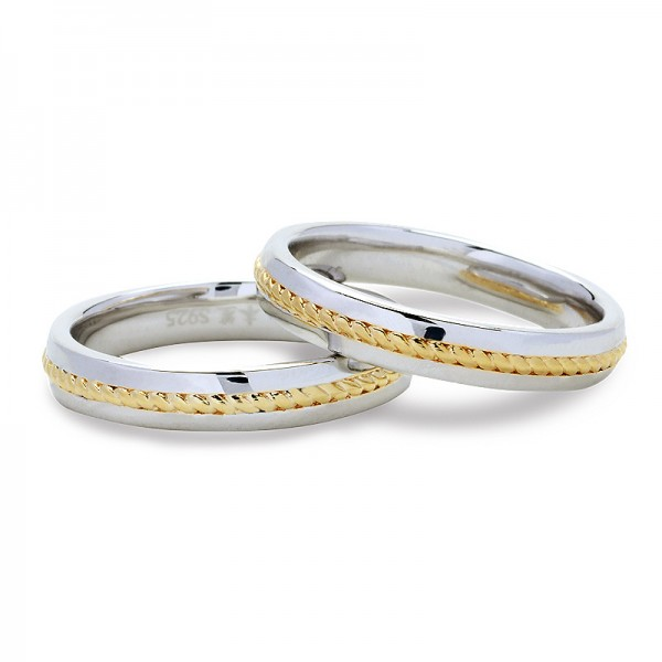S925 Sterling Silver Gold Couple Rings Weaving Pattern Leisure Style