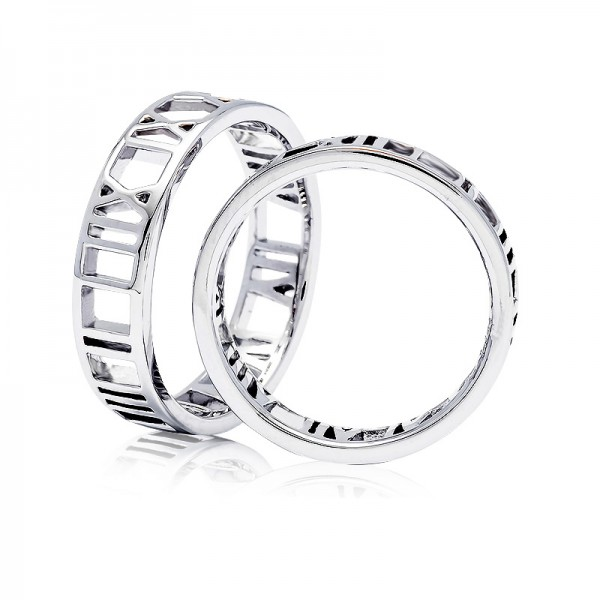 S925 Sterling Silver Ring For Couples Rome Numeral Circle Unique Design