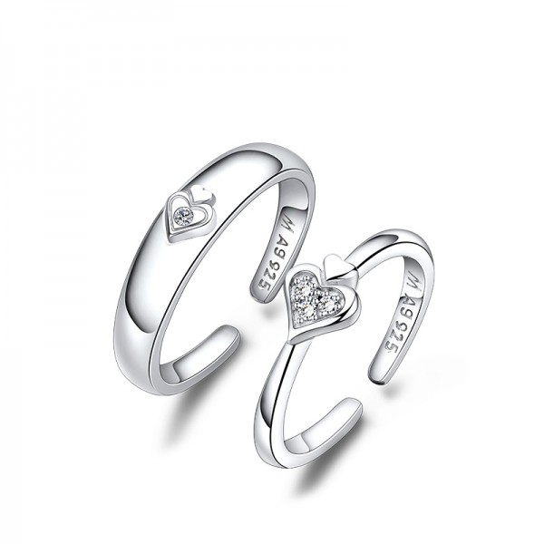 S925 Silver Cubic Zirconia White Sapphire Silver Couple Rings Heart Design