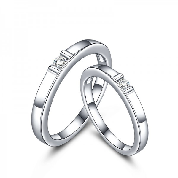 Fashion S925 Sterling Silver Cubic Zirconia White Sapphire Silver Couple Rings