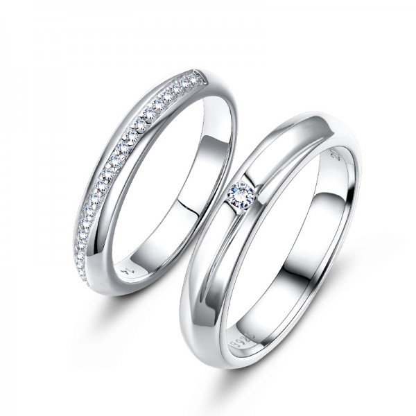 S925 Sterling Silver Cubic Zirconia White Sapphire Silver Couple Rings