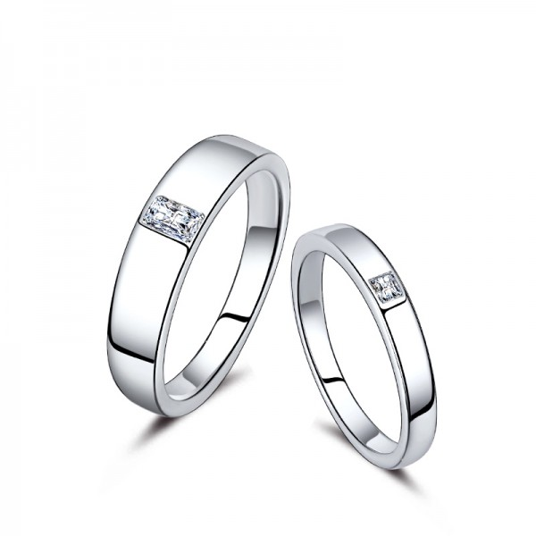 S925 Sterling Silver Cubic Zirconia White Sapphire Silver Couple Rings Simple and Elegant