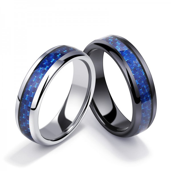 Tungsten Blue Ring For Couples Inlaid Carbon Fiber Luxury and Liberality Polish Craft