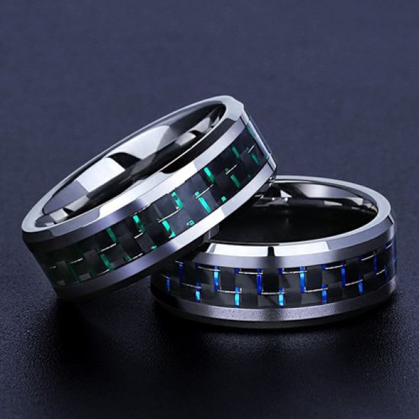Tungsten Black Ring For Couples Mature and Cool Inlaid Carbon Fiber Polish Craft