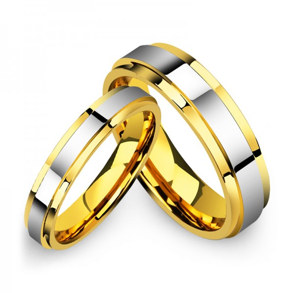 Tungsten Silvery and Golden Ring For Couple Luxury and Fashion Style Polish Craft