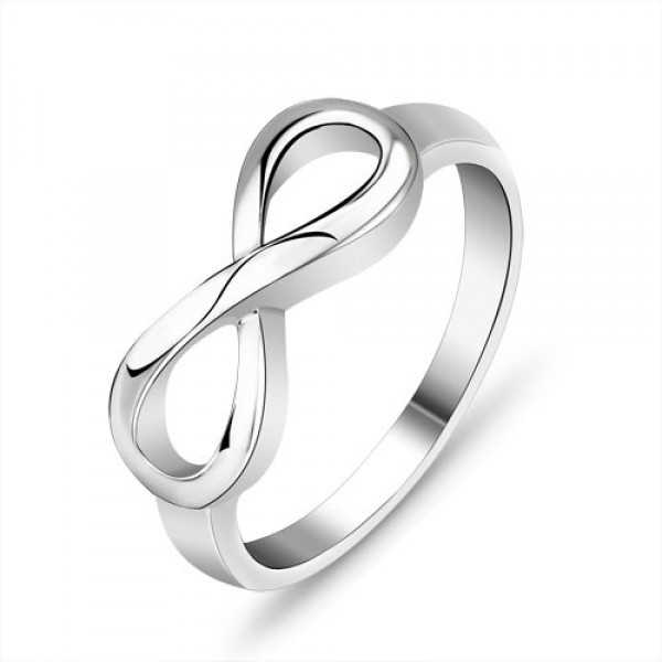 Simple S925 Sterling Silver Number 8 Style Ring