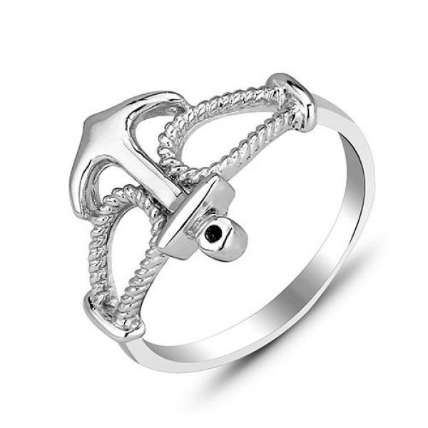 Chic S925 Sterling Silver Anchor Ring