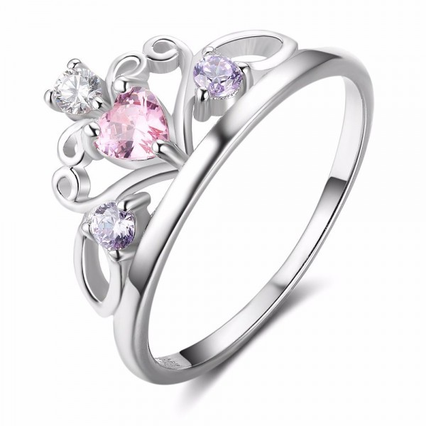 S925 Silver Lovely Lady Pink Princess Crown Ring