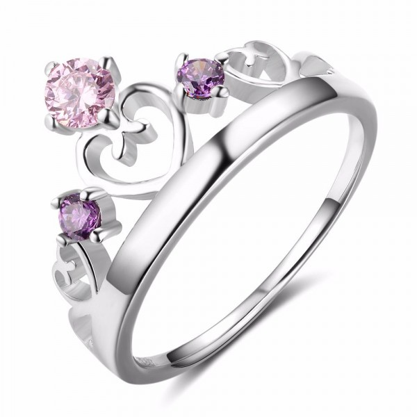 S925 Silver Diamond Purple Crown Girl Ring