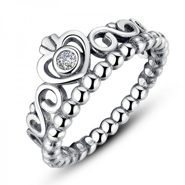 S925 Sterling Silver Fashion Retro Diamond Crown Ring