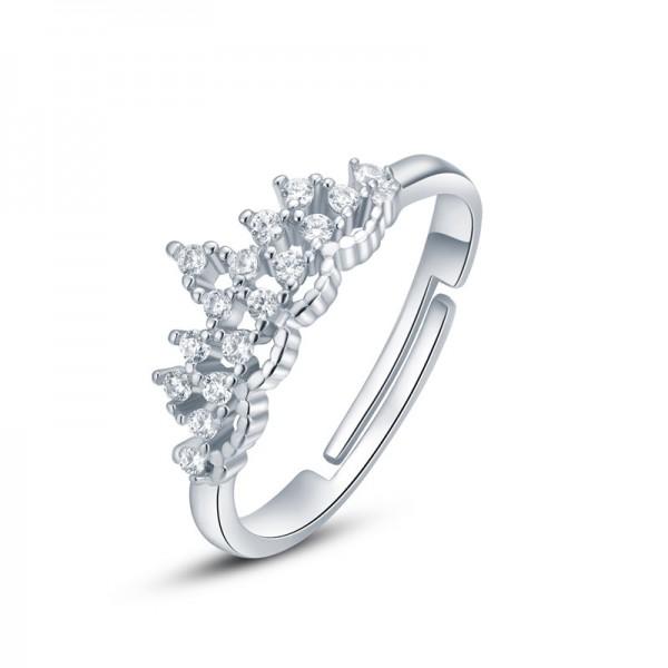 S925 Silver Ring WoMen's Elegant Crown Diamond Open Adjustable Ring