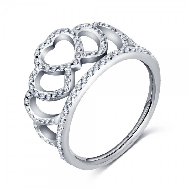 S925 Sterling Silver Love Heart Silver Crown Diamond Ring