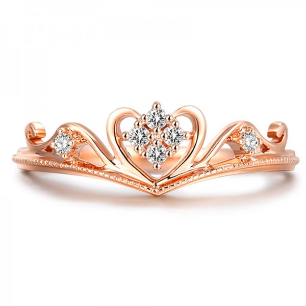 925 Silver Crown Ring Diamond Lover Ring