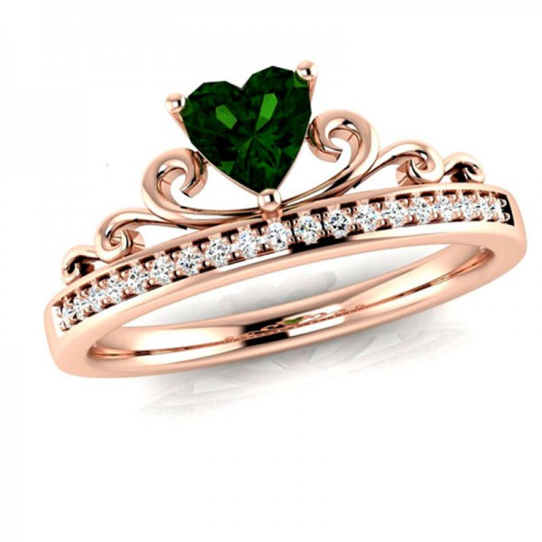 Diamond Inlaid Rose Gold Heart Zirconia Crown Rings