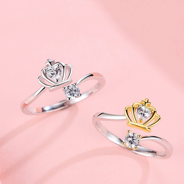 Crown Ring Female Silver Open Heart-Shaped Ring Diamond Tail Ring