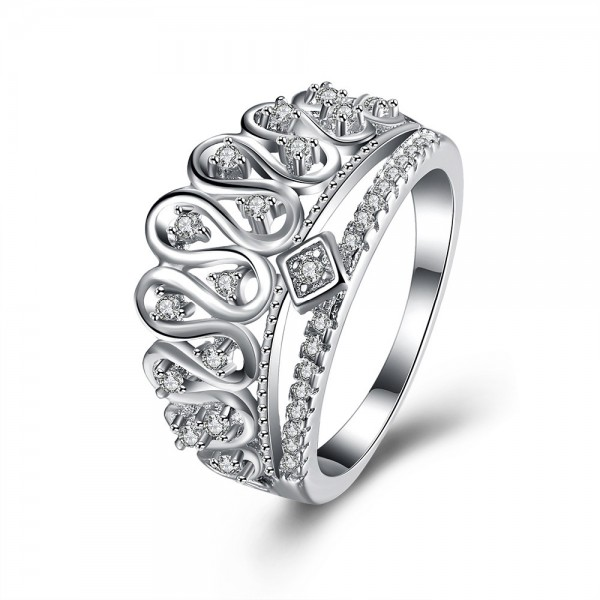 S925 Sterling Silver Retro Princess Crown Ring